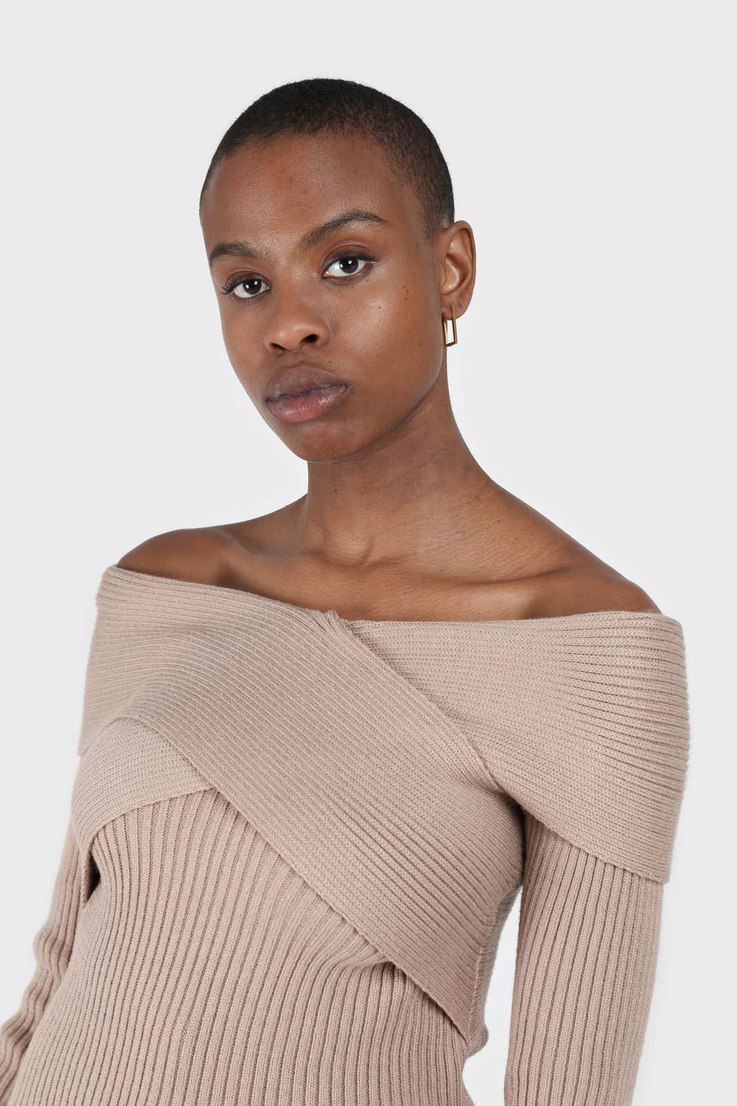 Beige cross over wrap ribbed knit top8