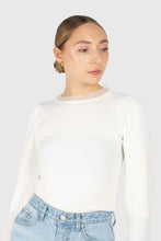 Load image into Gallery viewer, Ivory balloon sleeve frill tie neck knit top1