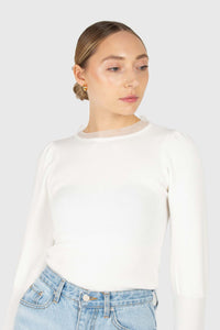 Ivory balloon sleeve frill tie neck knit top1
