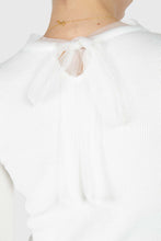 Load image into Gallery viewer, Ivory balloon sleeve frill tie neck knit top3