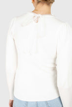 Load image into Gallery viewer, Ivory balloon sleeve frill tie neck knit top4