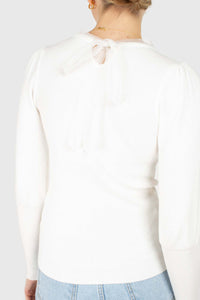 Ivory balloon sleeve frill tie neck knit top4