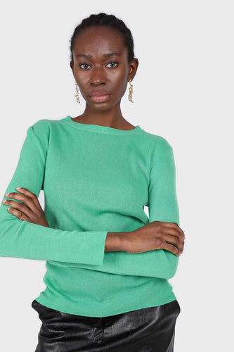 Green crew neck fitted long sleeved knit top1sx