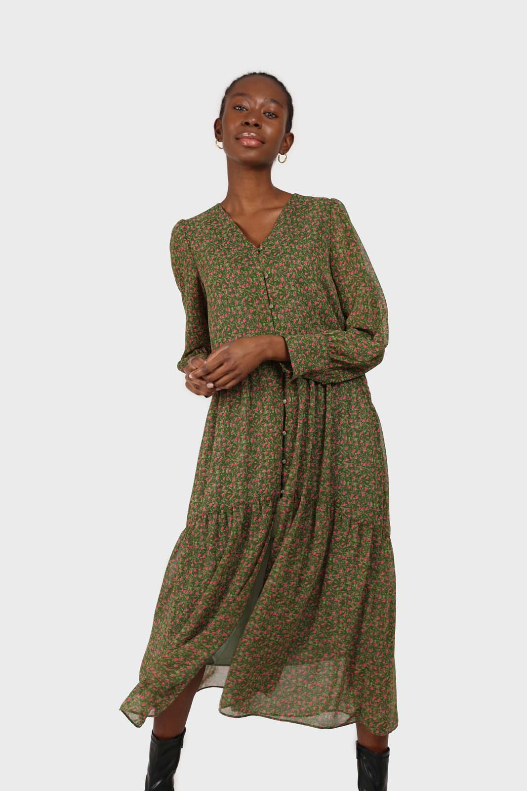 Khaki button front floral maxi dress2