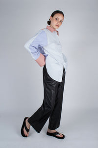 22709_Black vegan leather wide leg trousers_MFSBA1
