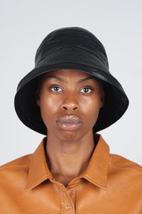 Black vinyl bucket hat1