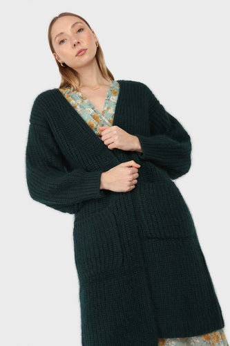 Deep green ribbed angora long cardigan1