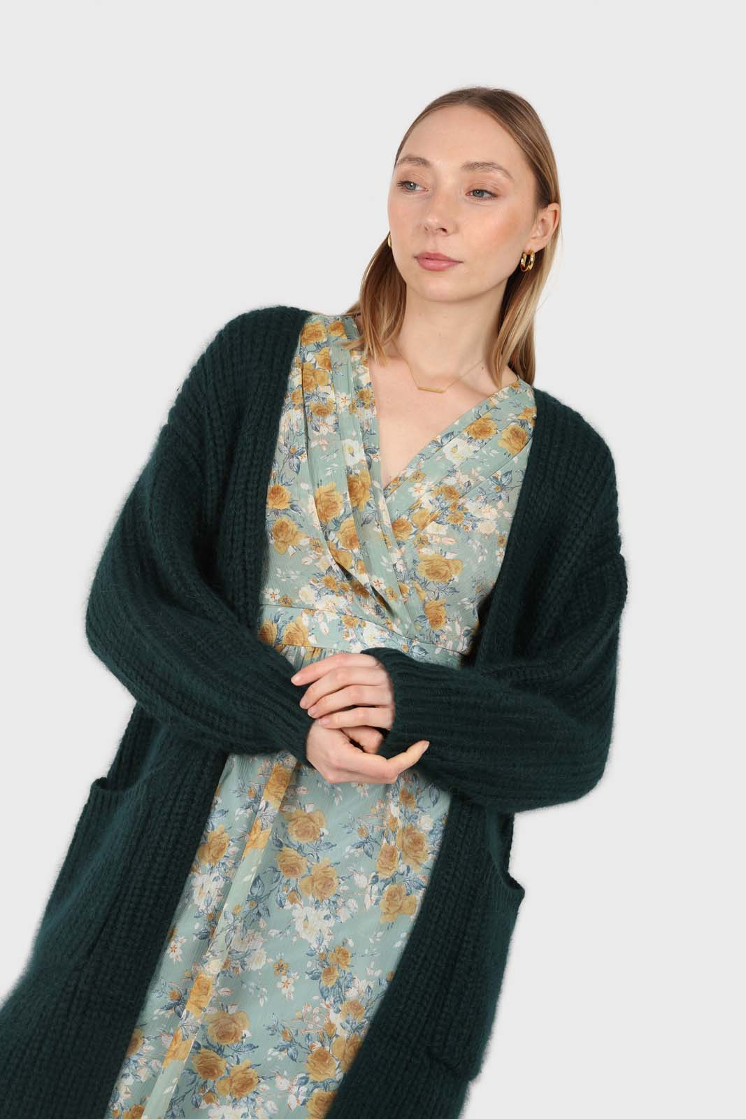 Deep green ribbed angora long cardigan2