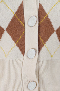 Cream and brown intarsia argyle print cardigan_MDEBA1
