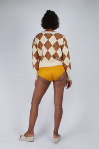Cream and brown intarsia argyle print cardigan_MFBBA1