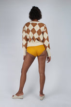 Load image into Gallery viewer, Cream and brown intarsia argyle print cardigan_MFBBA2