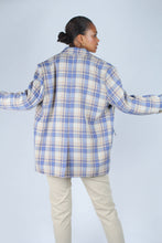 Load image into Gallery viewer, Blue and yellow checked oversized blazer_4
