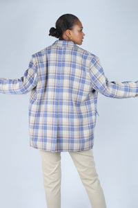 Blue and yellow checked oversized blazer_4