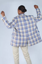 Load image into Gallery viewer, Blue and yellow checked oversized blazer_5