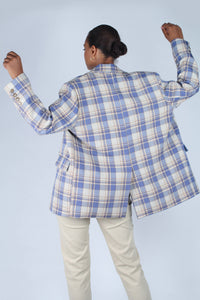 Blue and yellow checked oversized blazer_5