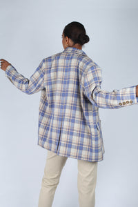 Blue and yellow checked oversized blazer_6