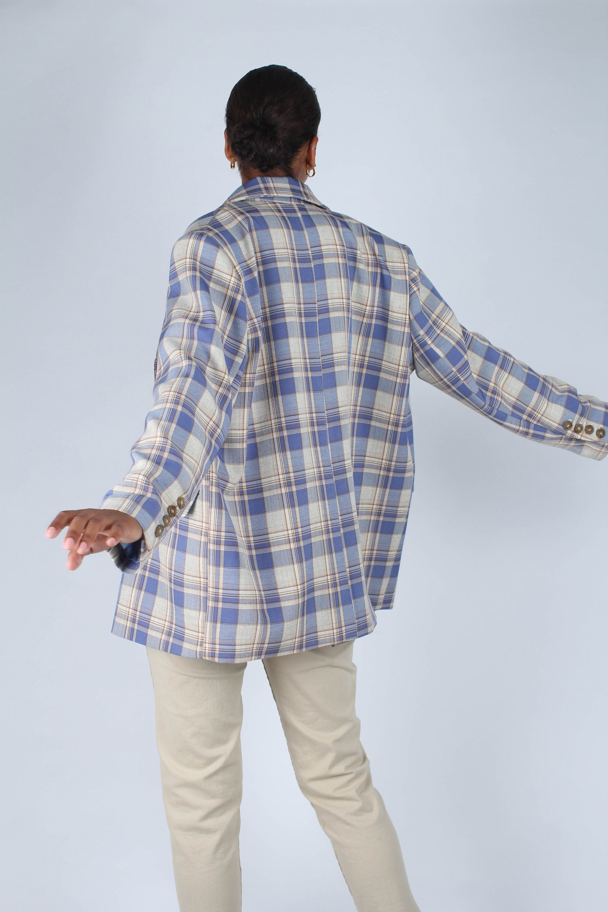 Blue and yellow checked oversized blazer_7