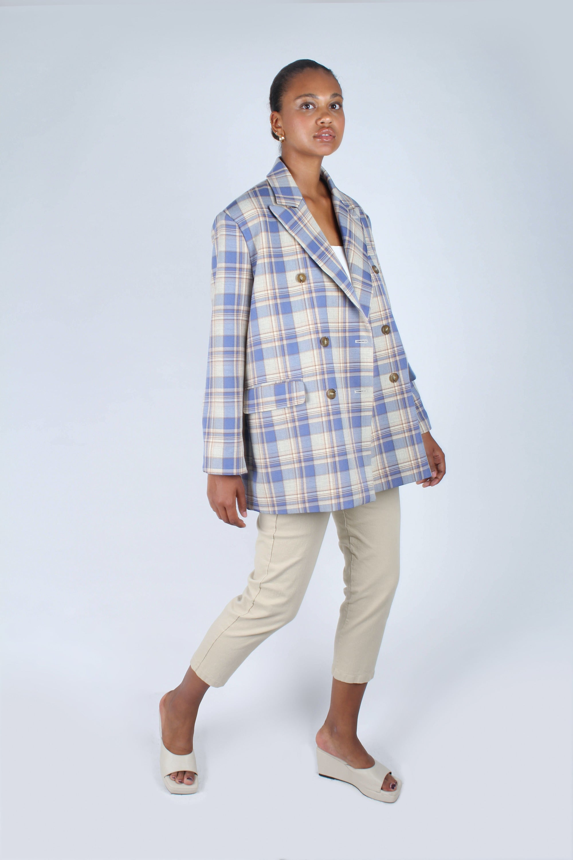 Blue and yellow checked oversized blazer_3