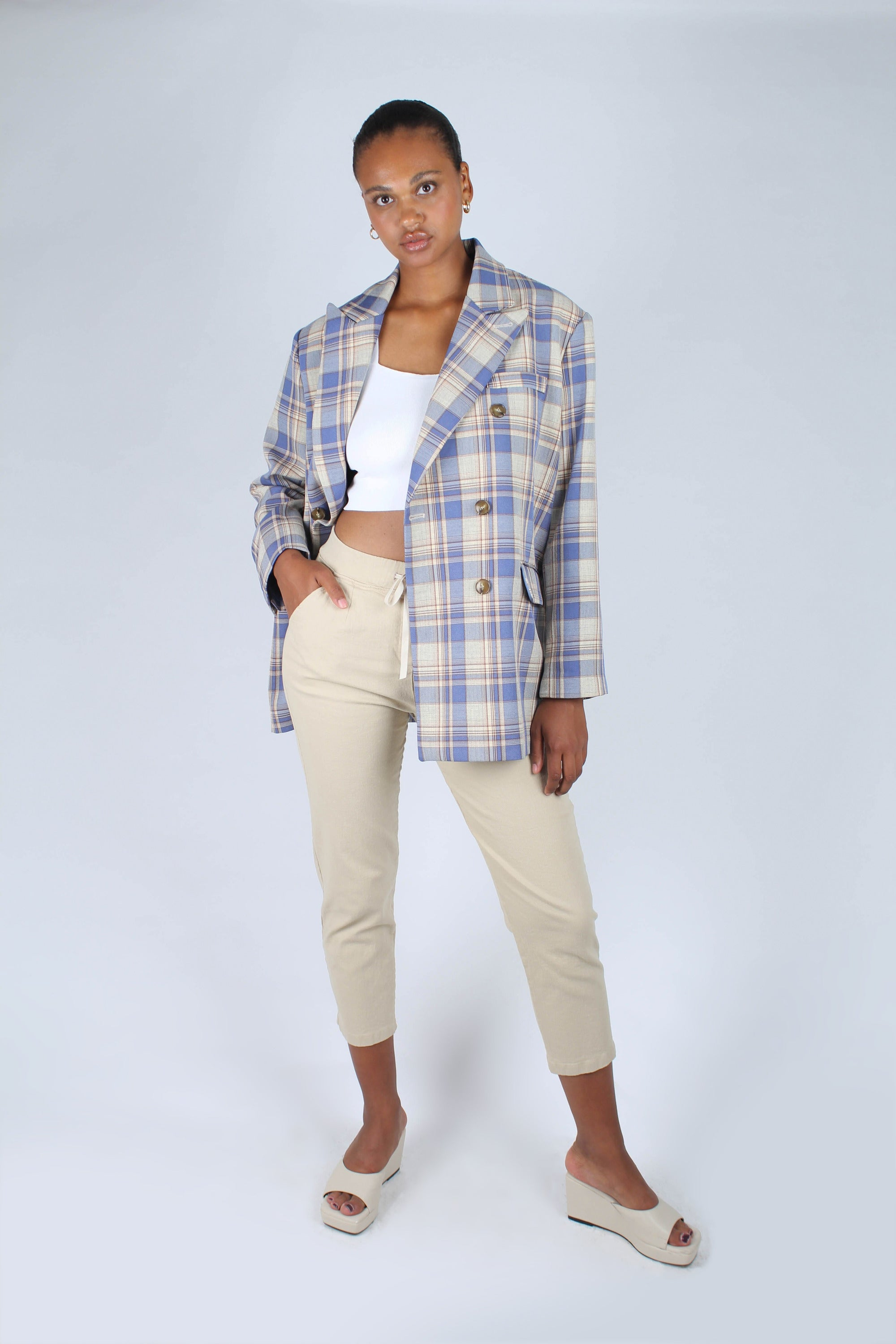Blue and yellow checked oversized blazer_8