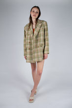 Load image into Gallery viewer, 22729_Green and yellow checked oversized blazer_MFFBA1