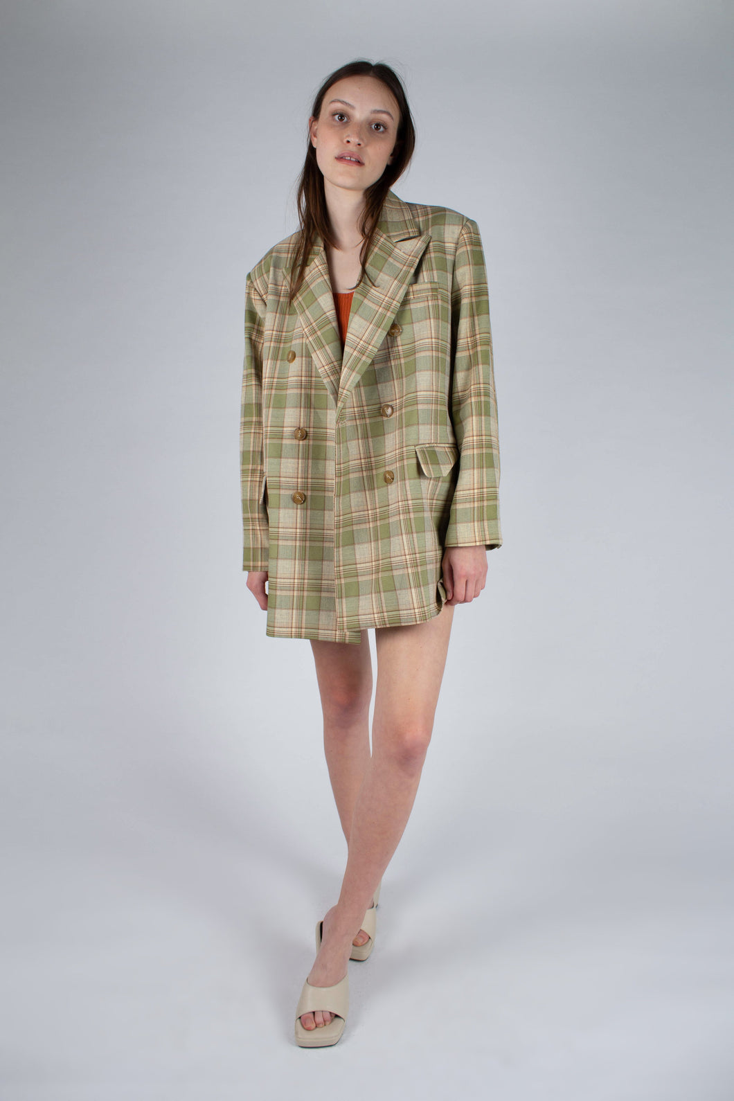 22729_Green and yellow checked oversized blazer_MFFBA1