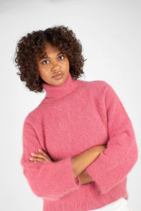Pink thick angora turtleneck jumper4