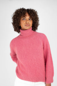 Pink thick angora turtleneck jumper5