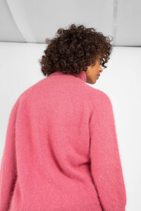 Pink thick angora turtleneck jumper6