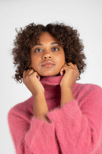 Pink thick angora turtleneck jumper7
