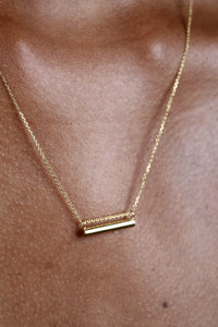 Charm necklace - Gold smooth bar pendant / 50cm_4