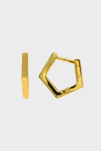 Gold small hexagan hoop earrings1sx