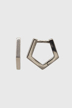 Load image into Gallery viewer, Silver small hexagon hoop earrings1sx