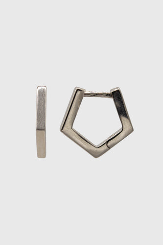Silver small hexagon hoop earrings1sx