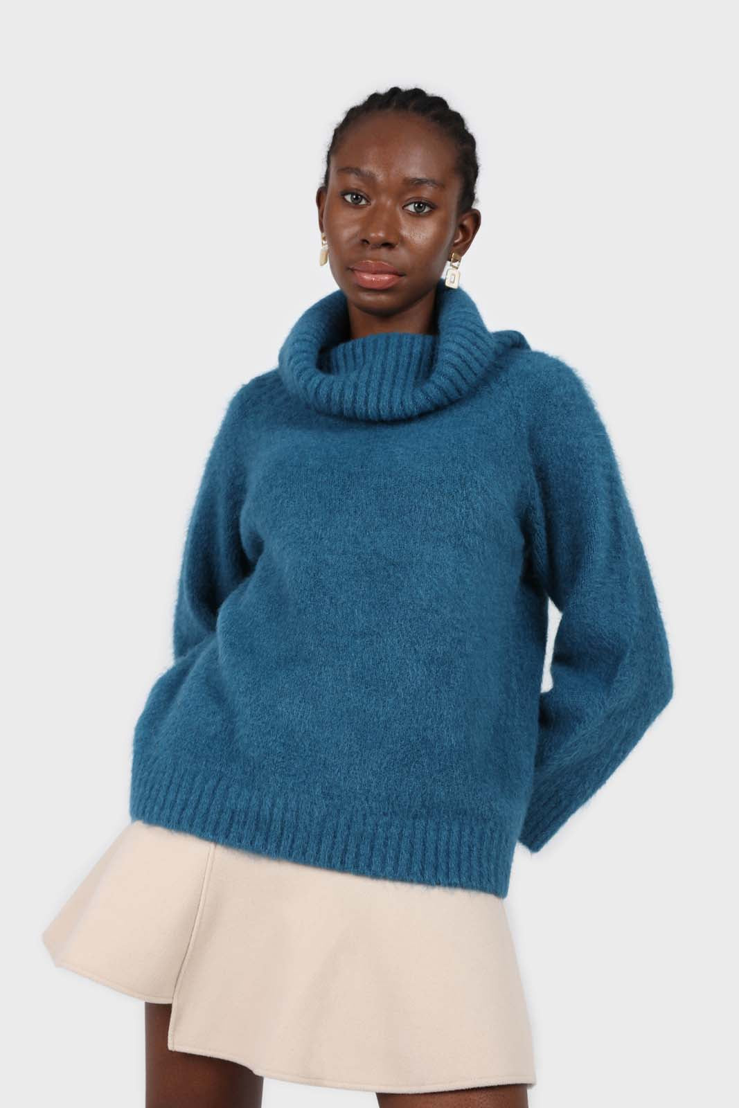Teal off shoulder long knit jumper1sx