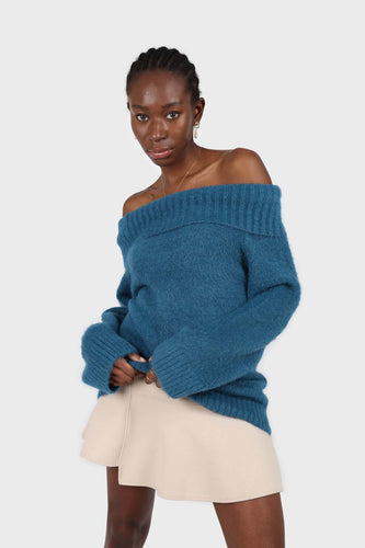 Teal off shoulder long knit jumper3