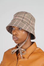 Load image into Gallery viewer, Beige pink and teal checked bucket hat with detachable string2