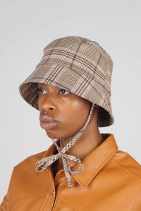 Beige pink and teal checked bucket hat with detachable string2