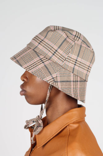 Beige pink and teal checked bucket hat with detachable string3