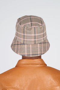 Beige pink and teal checked bucket hat with detachable string4