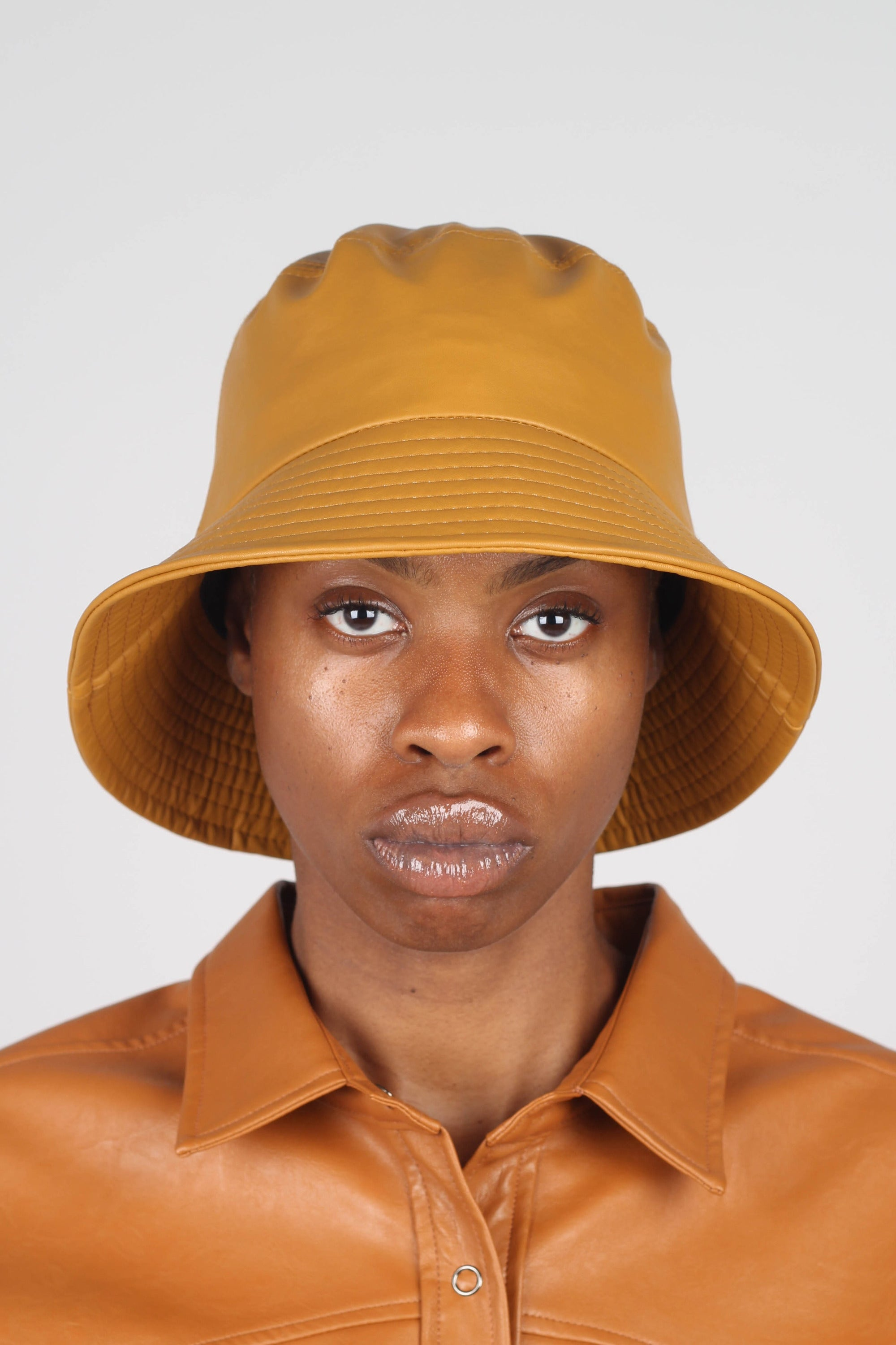 Mustard vegan leather oversized bucket hat1