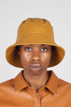 Load image into Gallery viewer, Mustard vegan leather oversized bucket hat1