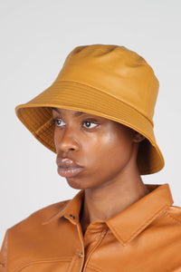 Mustard vegan leather oversized bucket hat2