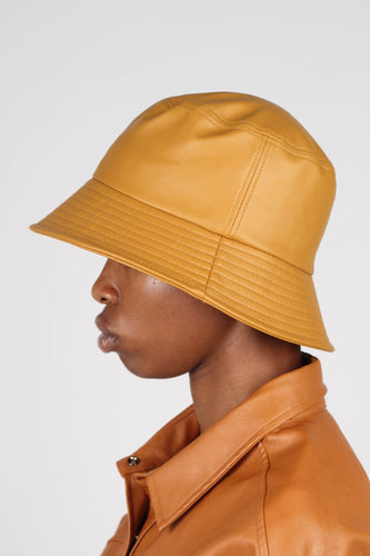 Mustard vegan leather oversized bucket hat3