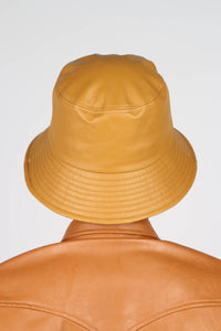 Mustard vegan leather oversized bucket hat