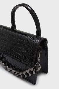 Black croc skin rectangle thick chain handbag4