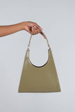 Load image into Gallery viewer, Green croc skin triangle shoulder bag with chain handle_PSFBA1