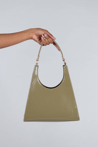 Green croc skin triangle shoulder bag with chain handle_PSFBA1