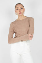 Load image into Gallery viewer, Beige shirring jersey long sleeved top1sx