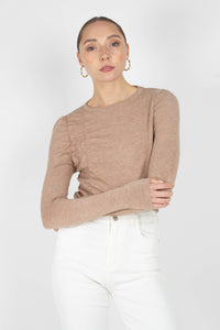 Beige shirring jersey long sleeved top1sx