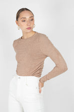 Load image into Gallery viewer, Beige shirring jersey long sleeved top2